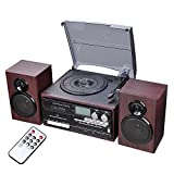 AMPERSAND SHOPS Old School 7' 10' 12' Vinyl Record Cassette Player Turntable with Speakers Bluetooth and AM/FM Radio USB Port Remote Control LCD Display