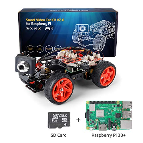 SunFounder Raspberry Pi Smart Video Robot Car Kit V2.0 Electronic Camera Toy, Graphical Visual Programming Language Supported, Remote Control by UI on Windows/Mac and Web Browser, RPi 3 Included
