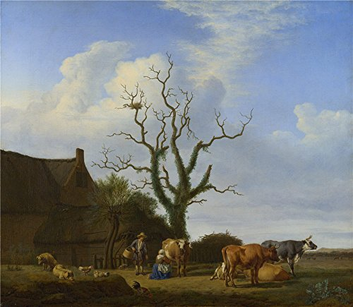 The High Quality Polyster Canvas Of Oil Painting 'Adriaen Van De Velde A Farm With A Dead Tree ' ,size: 18 X 21 Inch / 46 X 53 Cm ,this Beautiful Art Decorative Canvas Prints Is Fit For Laundry Room Gallery Art And Home Decor And Gifts