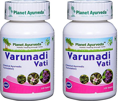 Varunadi Vati - Natural Remedy for Kidney Stone Pain Relief - 2 bottles (each 120 tablets, 500mg) - Planet Ayurveda (in USA)