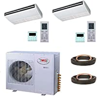 YMGI Dual Zone - 48000 (24k+24k) BTU 4 Ton Ceiling Suspension of Floor Mount Ductless Mini Split Air Conditioner with Heat Pump for Home, Office, shops