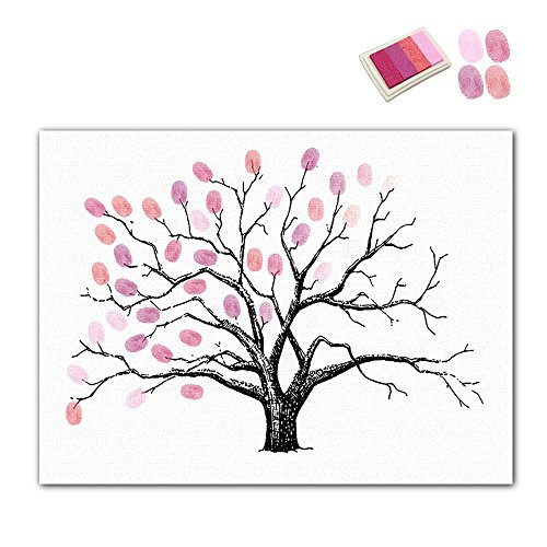 Aolvo Waterproof Fingerprints Tree Family Tree Wall Decal with 5 PCs Ink Pads and Professional Oil Canvas for Decorating Living Room, Wall, Bedroom, Graduation and Family Commemoration