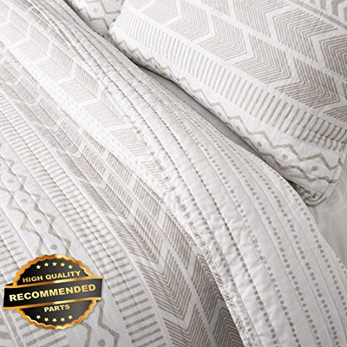 Werrox 3pc Hygge GEO Quilt Set Taupe/White Bed Cozy Spotted Stripe Reversible Cotton Size | Quilt Style QLTR-291268145
