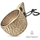 überleben Dursten Kuksa | Wood Camp Mug | Lightweight & Eco-Friendly | Traditional Wooden Cup with Carabiner | Bushcraft or Camping | Leather Lanyard