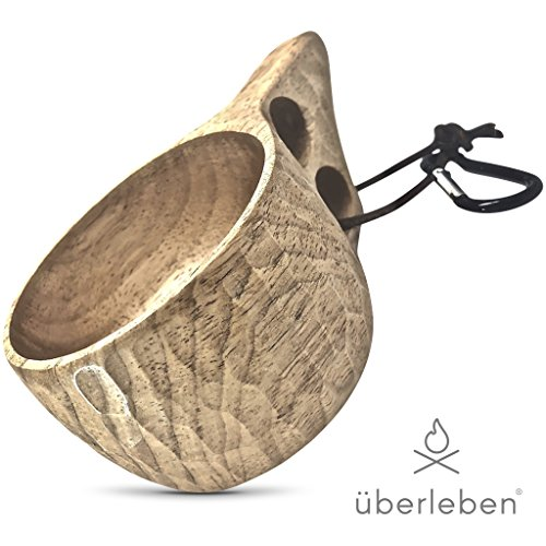 Price comparison product image Überleben Dursten Kuksa Wood Camp Cup | Lightweight, 100% Hardwood, Eco-Friendly | Camping Mug with Carabiner for Backpacking, Hiking, Campfires, Survival, & Bushcraft