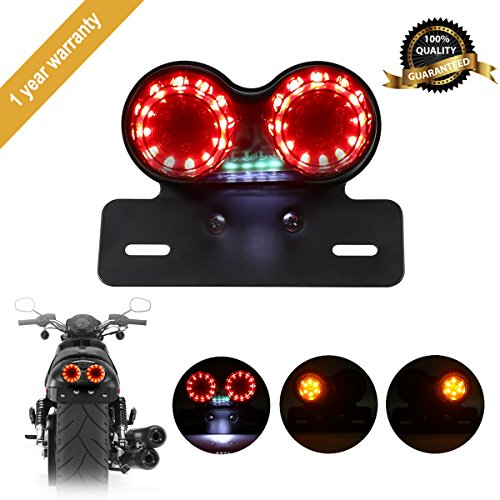 GreenClick Universal 40W 40 LEDs Motorcycle Tail Light, Custom Motor Taillight and License Plate Holder with Turn Signals Brake Stop Lights for Harley Davidson Honda Yamaha Suzuki Kawasaki Triumph BMW Custom Black Motorcycle
