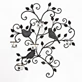 Homebeez Decorative Iron Wall Hanging Tea Light Candle Holder With Leaves and Birds, Black with Antique Finish, Holds 5 Candles