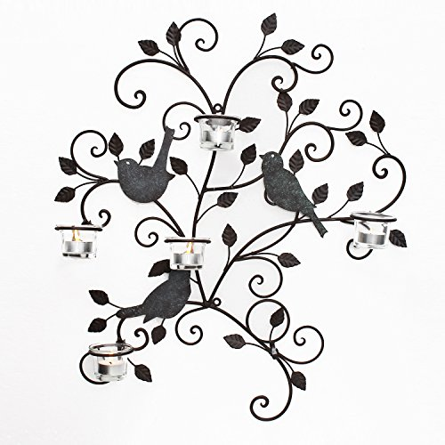 Adeco HD0024 Decorative Iron Wall Hanging Tea Light Candle Holder, Birds & Branches, -