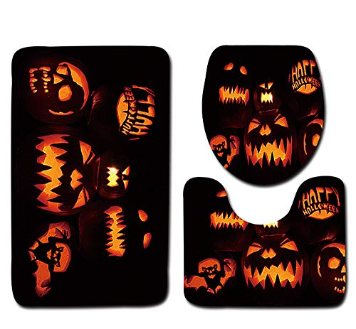 YOcheerful Halloween Black Cat Toilet Seat Cover and Bathroom Set Halloween Decor (D,Free Size) for $<!--$6.99-->