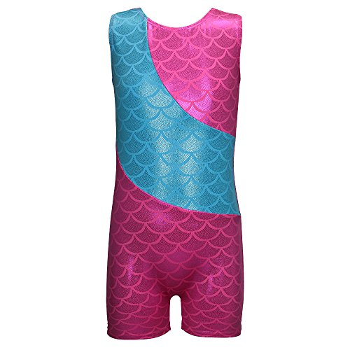 [Colorful Ribbons Mermaid Rainbow Gymnastics Biketard Shortall for Little Girl (120(5-6Y), Hot pink] (Little Mermaid Tutu Dress)