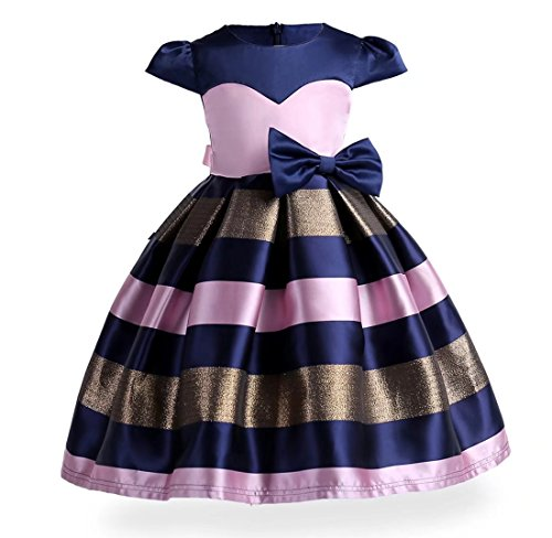 2001 Wedding Gown - Kids Showtime Flower Girls Strips Wedding Dress Special Occasion Christmas Party Gowns(2001/Navy&Pink,4-5Y)