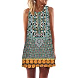 T Shirt Dress,Women Vintage Boho Summer Sleeveless Beach Printed Short Mini Dress