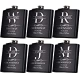 Personalized Flask Set, Groomsmen Gift, Customized Groomsman Flask Comes with Stainless Steel Funnel, Matte Black | Design 9