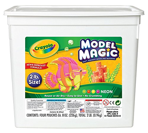 Crayola Model Magic Neon, Modeling Clay Alternative, Slime Ingredient, 2lb - Clay Crayola Magic