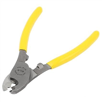 SOURCING MAP sourcingmap® Alicate para cortar cables Amarillo alambre mano herramienta 16,5 cm