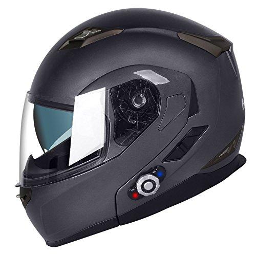 (FreedConn BM2-S asBluetooth Modular Helmet Dot Street Motorcycle Helmet with Retractable Sun Shield (XL, Grey))
