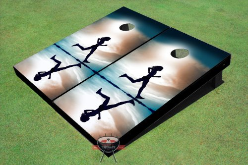 Girl Running On The Beach Theme Cornhole Boards by Custom Tailgate