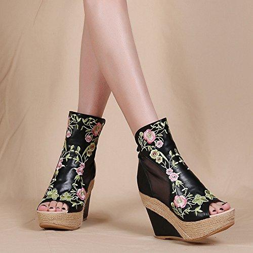 11cm tacchi scarpe Da il fighi super Alla boemia Ajunr Sandali stivali la retro impermeabile a ricamato spillo di turismo bocca Beige di Donna Moda cunei pesce U5zwqS5