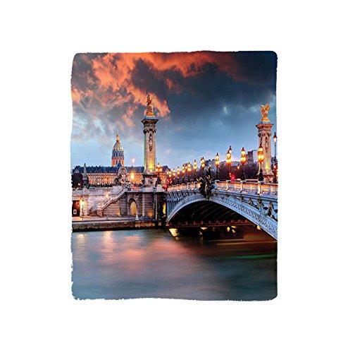 VROSELV Custom Blanket Paris Collection Alexandre 3 Bridge Paris France Palace Golden Color Peaceful Surface Waterscape Bedroom Living Room Dorm Bridge Armoire