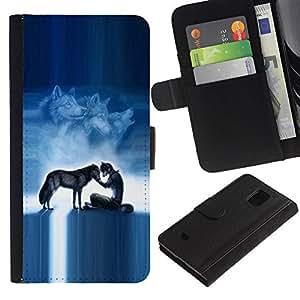Billetera de Cuero Caso Titular de la tarjeta Carcasa Funda para Samsung Galaxy S5 Mini, SM-G800, NOT S5 REGULAR! / Werewolf Pack Wolf Blue Nigh Moon Sky / STRONG