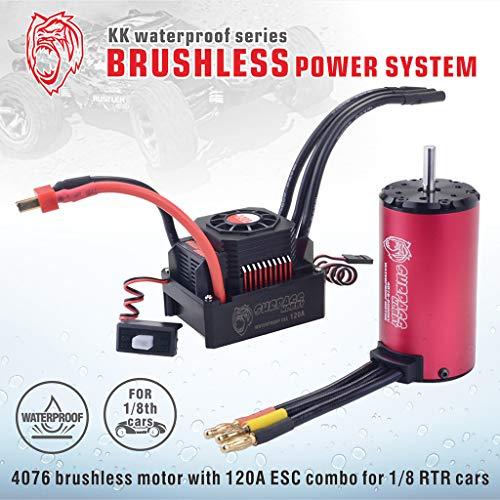 Motor ESC for 1/8 RC Racing Car Waterproof Combo 4076 2000KV Brushless Motor w/120A ESC Durable Professional Accessory