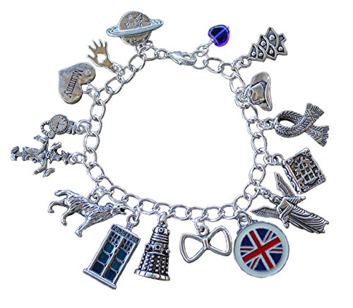 Dalek Hat (Doctor Who Silver Plated Charm Bracelet: Blue Tardis, Angel, UK Flag, Bow Tie, Dalek –Handmade Sci Fi Jewelry– Size M (7.5 Inches))