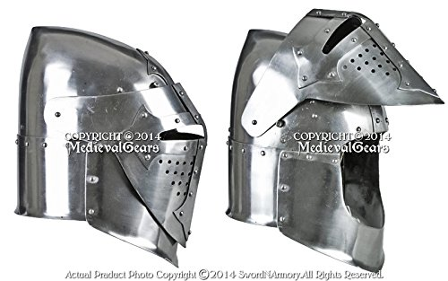 Functional 16G Steel Medieval Knight Pig Face Bascinet Helmet WMA SCA LARP Armor by Medieval Gears (Image #3)