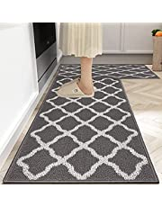 Famibay 2 Piece Kitchen Rug Non Slip Machine Washable Kitchen Floor Mat with Rubber Backing Durable Moroccan Trellis Style Absorbent Kitchen Carpet Runner Rug for Kitchen Entryway Indoor Outdoor (Grey)
