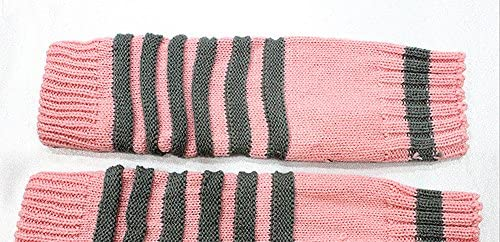 Comfspo New Arrival Girls Cable Knitted Long Fingerless Gloves Arm Warmers With Strips
