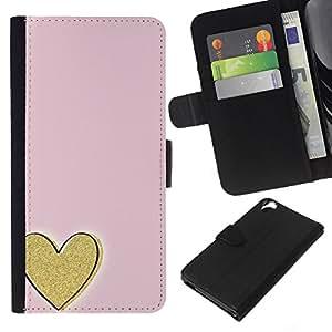 WINCASE Cuadro Funda Voltear Cuero Ranura Tarjetas TPU Carcasas Protectora Cover Case Para HTC Desire 820 - amor oro minimalista de color rosa
