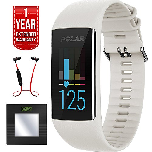 Polar A370 Fitness Tracker with 24/7 Wrist Based Heart Rate, GPS via phone (90064905) + Bluetooth Digital Body Mass Bathroom Scale + Fusion Bluetooth Headphones Black/Red + 1 Year Extended Warranty by Polar
