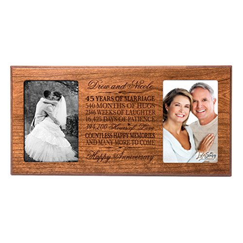 Personalized 45 year anniversary gift her him couple Custom Engraved wedding celebration for Husband wife girlfriend boyfriend photo frame holds two 4x6 photos by LifeSong Milestones (Cherry) by LifeSong Milestones