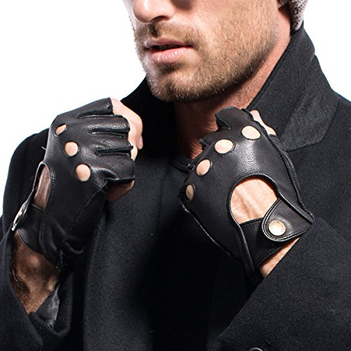 MATSU Mens Deerskin Fingerless Driving Leather Gloves Available for Rivets DIY #1076 (M, Black)
