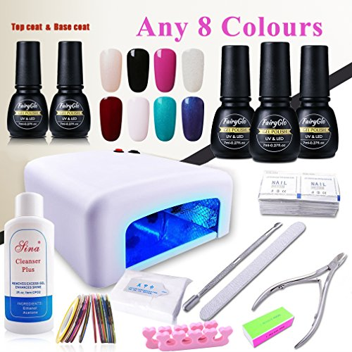 (Pick Any 8 Colors) Nail Art Polish Top Base 36W UV Lamp ...
