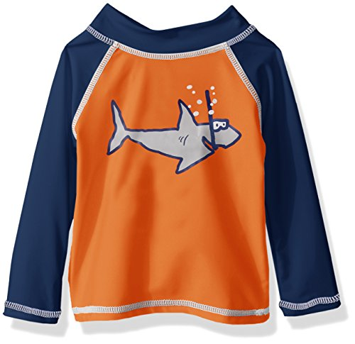 Flap Happy Baby Boys' Upf 50+ Graphic Rash Guard/Swim Top, Shark Club, 12m (Flap Childrens Clothing Happy)