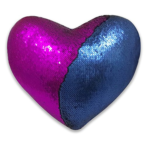 - QQB Mermaid Pillow,Reversible Sequin Color Heart Shaped Decorative Throw Pillow with Pillow Insert, 13''×15'' (Blue and Purple)