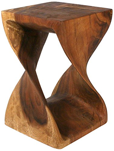 Strata Furniture Twist Stool, 12 by 20-Inch, Walnut