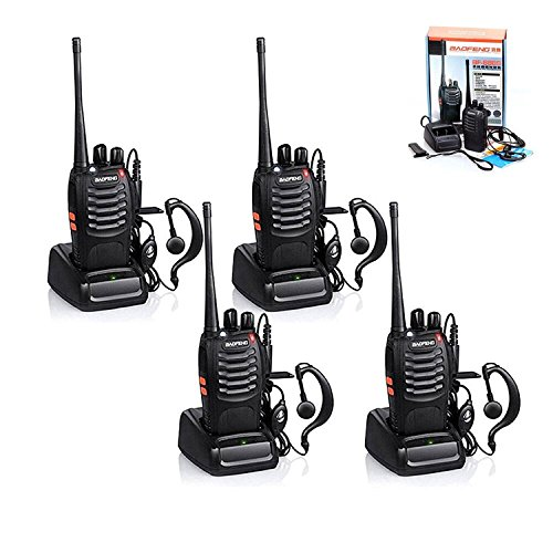 4pcs Baofeng Walkie Talkie, BF-888S Two Way Radio UHF Handheld 400-470MHz CTCSS/DCS Flashlight with Earpiece Programming Cable Walkie Talkies(4 Pack) by Baofeng