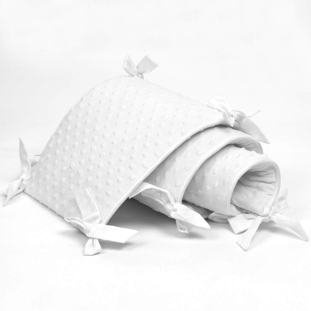 Washable Crib Bedding Bumper Liners 4 Pieces//Set Crib Toddler Bed for Standard Size Safe Nursery Crib Bumper Pad 52x28 White
