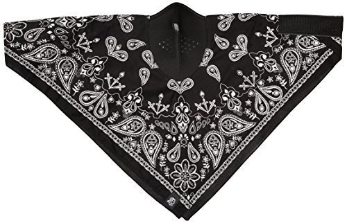 Zanheadgear WNEO101 NeoDanna Paisley 100 Percentage Cotton Bandanna with Neoprene Face Mask (Black)