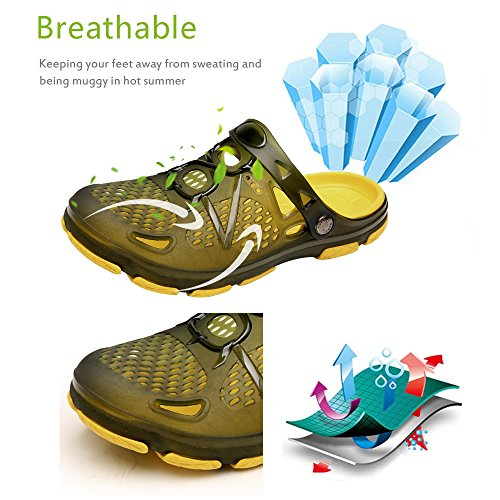 Techcity Unisex Garden Clogs Outdoor Walking Sandals Breathable Sport Slides Summer Non Slip Pool Beach Shower Slippers Shoes Yellow LJntyMCv