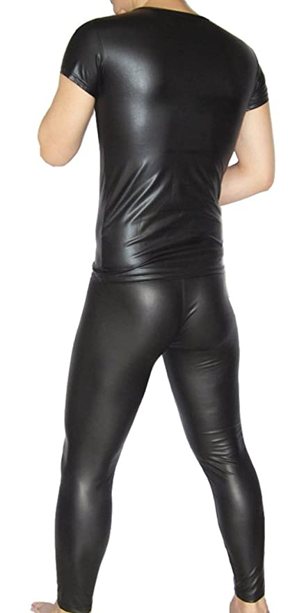 c4173c518cad0 Amazon.com: LinvMe Men's Sexy Faux Leather Tights: Clothing