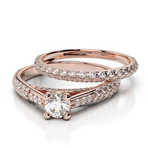 Or Rose 18carats 1CT G-H/VS sertie de diamants Coupe ronde de mariage Bague de fiançailles et ensemble de Agdr-2013