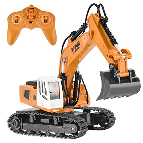 Eholder RC Excavator Toy for Kids Boys Full Function Remote Control Construction Vehicles 2.4GHz 9 Channel Rechargeable Remote Control Digger Birthday Xmas Gift (rc Excavator Toy) from Eholder