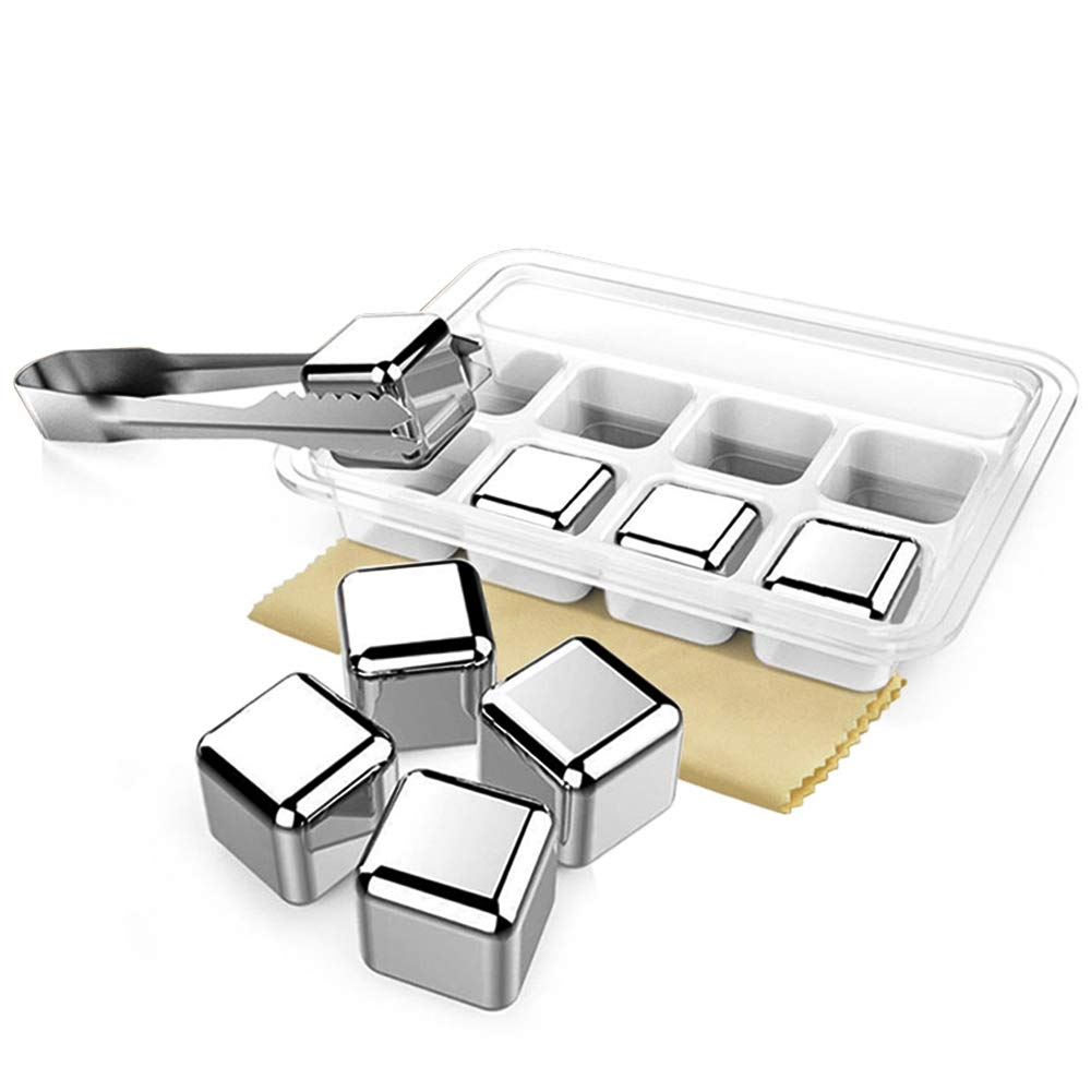 OneBom Stainless Whiskey Stones, 8PCS Reusable Chilling Cooling Cubes with Ice Tong,Cleainng Cloth,Storage Tray for Drinks Bar Wine Lovers