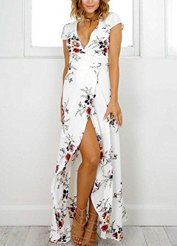 con Vacaciones Vestido Mangas Mujer S Boho Blanco De Cortas Bohemio Imprimir Floral Profundo Vestido Cuello Largo con Estampado V qZnREx1aR
