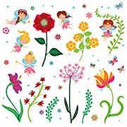 Fairy Flowers Garden Decorative Peel & Stick Wall Art Sticker Decals for Kids Room and Nursery