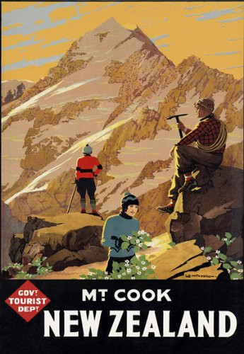 (TR11 Vintage New Zealand Mount MT. Cook Travel Tourism Poster Re-Print - A3 (432 x 305mm) 16.5