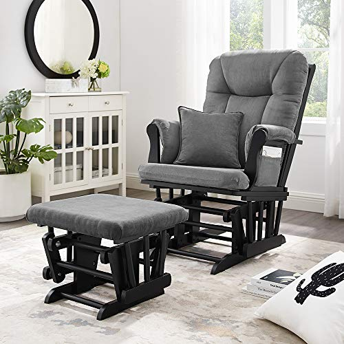51kdFcgNQ3L - Angel Line Monterey Ii Glider & Ottoman, Black With Dark Gray Cushion