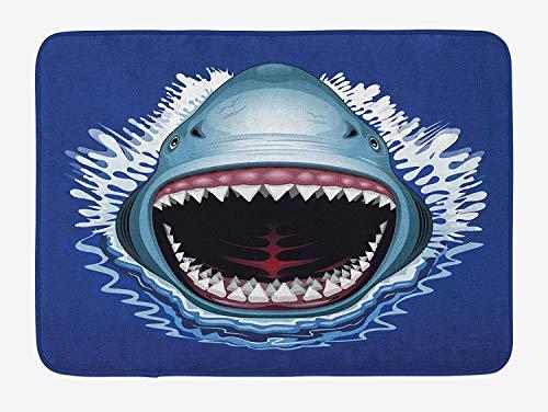 Weeosazg Shark Bath Mat, Attack of Open Mouth Sharp Teeth Sea Danger Wildlife Ocean Life Cartoon, Plush Bathroom Decor Mat with Non Slip Backing, 23.6 W X 15.7W Inches, Navy Blue Grey Fuchsia]()